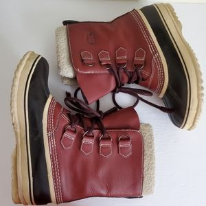 Sorel 1964 Pac Burgundy Winter Boots Size 8